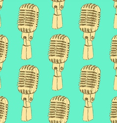 Sketch old microphone in vintage style vector image vector image