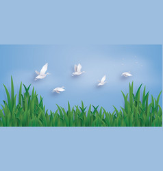 the ducks are flying into the sky vector image vector image