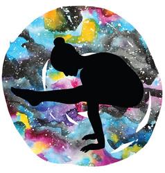 women silhouette firefly yoga pose tittibhasana vector image vector image