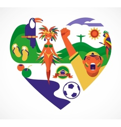 Brazil love - heart with a set of icons vector image vector image