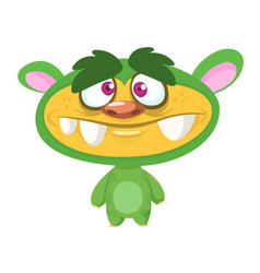 cute cartoon green monster vector image vector image