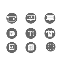 printing and design icons vector image vector image