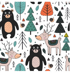 seamless pattern with animals in forest vector image vector image