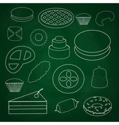 sweet desserts outline icons on blackboard eps10 vector image