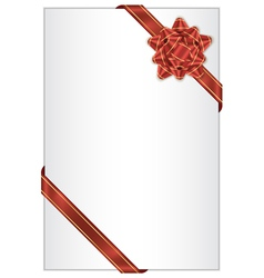 white background with red bow vector image vector image