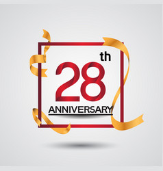 28 anniversary design with red color in square vector