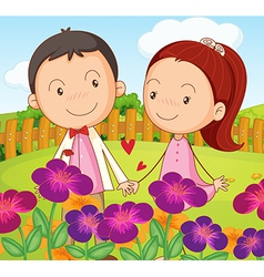 A sweet couple at the garden in the hilltop vector image