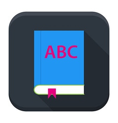 ABC English book app icon with long shadow vector