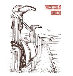 american ranch landscape with cowboy clothes vector image