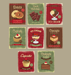 Bakery shop price cards retro design set vector