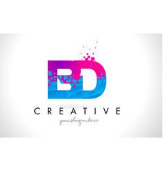 Bd b d letter logo with shattered broken blue vector