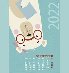 Bear calendar september 2022 with glasses vector