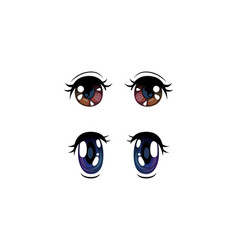 Beautiful brown and violet eyes with shiny light vector