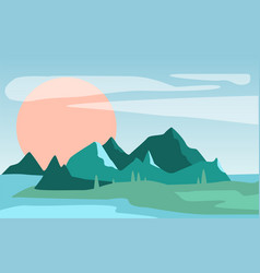 beautiful summer natural landscape scene of vector image