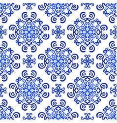 Blue background decorative floral pattern vector