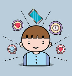Boy with smartphone icons chat message vector