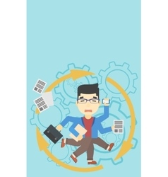 Businessman coping with multitasking vector