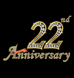 celebrating 22th anniversary golden sign vector image