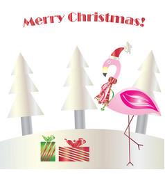 christmas flamingo - merry christmas card vector image