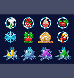 christmas icons for slots complete set vector image