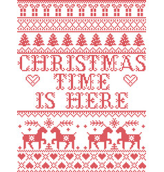 Christmas pattern christmas time is here carol vector