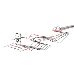 confused carton man walking on chaotic gray lines vector image
