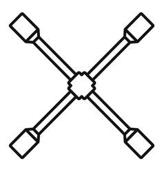 cross wheel key icon outline style vector image