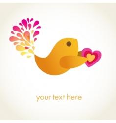 Cute romance bird with heart vector