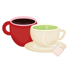 Delicious tea and coffee in cups vector