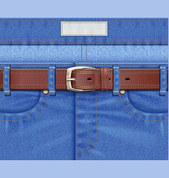 Denim pants with leather belt vector