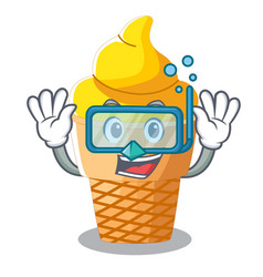 diving banana ice cream isolated on mascot vector image