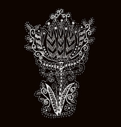 Doodle flower hand-drawing on black background vector