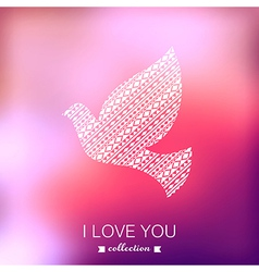 Dove valentines day background pigeon blurred vector