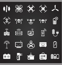 Drone icons set on black background for graphic vector