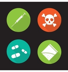 Drugs flat design long shadow icons set vector