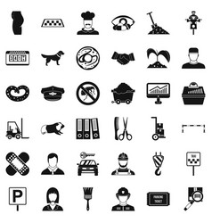 Favorite profession icons set simle style vector