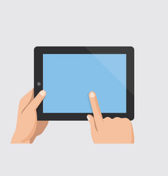 finger touching blank screen of tablet computer vector image