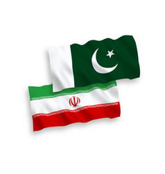 Flags iran and pakistan on a white background vector