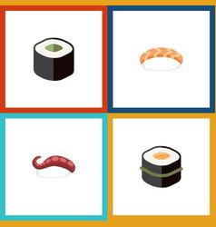 Flat icon maki set of seafood sashimi sushi and vector