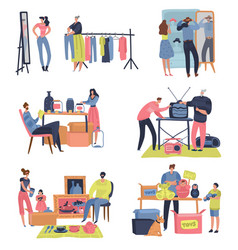 flea market people shopping selling second hand vector image