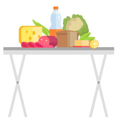 Food retail products on table garage sale vector