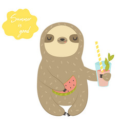 Funny sloth with cocktail and watermelon vector