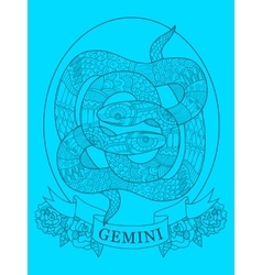 Gemini zodiac sign color drawing vector image