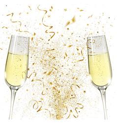 Glasses champagne and golden confetti vector
