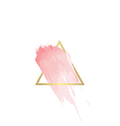 Golden line triangle frame with pink brush vector