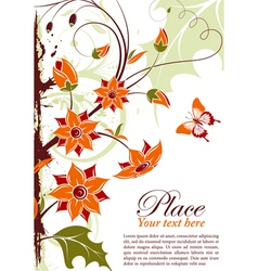 grunge floral frame with butterfly element for des vector image