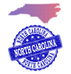 Halftone gradient map of north carolina state and vector