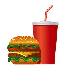 Hamburger and cola icon vector