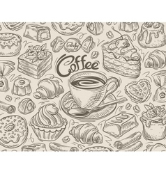 hand drawn dessert coffee sketch and food vector image
