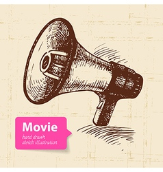 Hand drawn movie Sketch background vector image